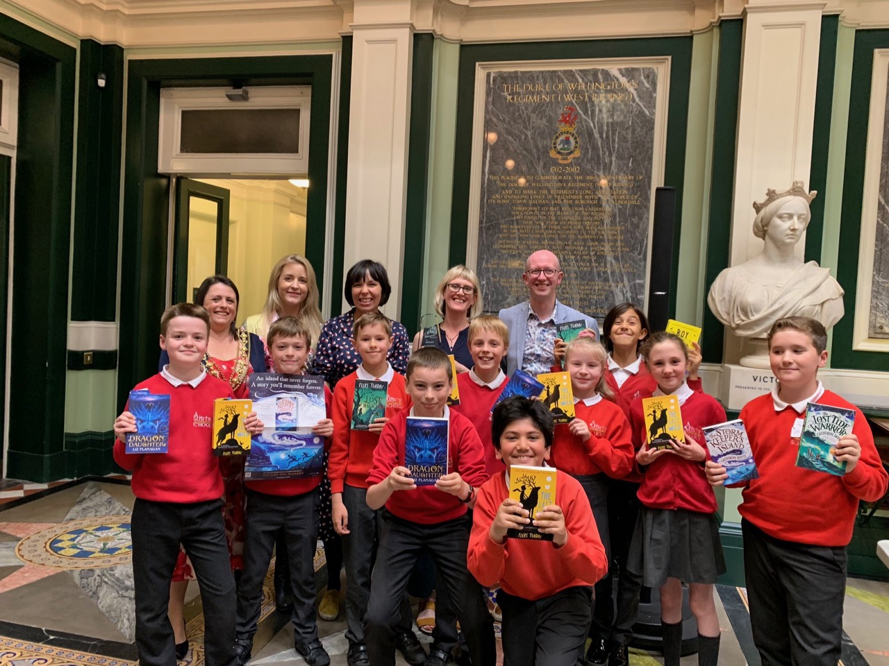 Some of the children who attended, with all the authors!
