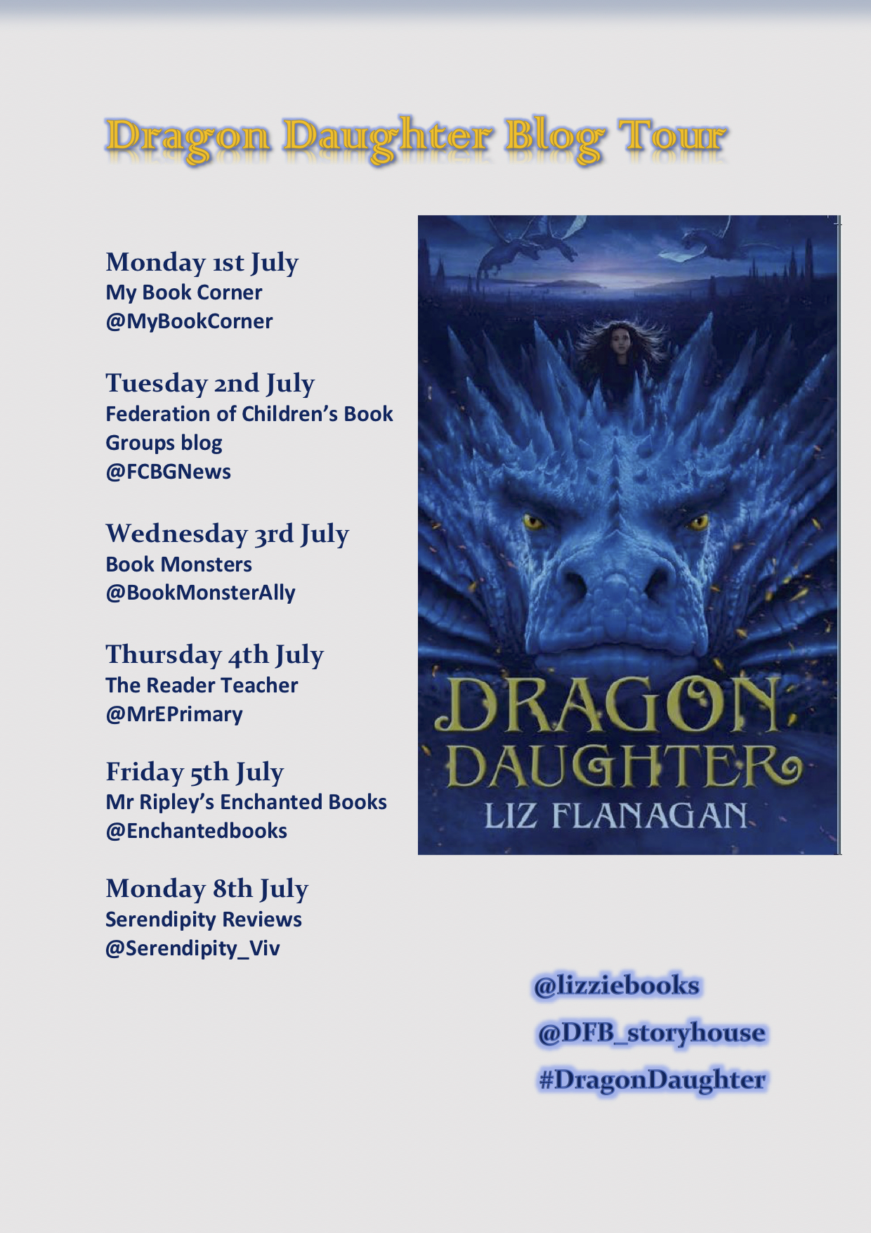 Dragon Daughter blog tour poster