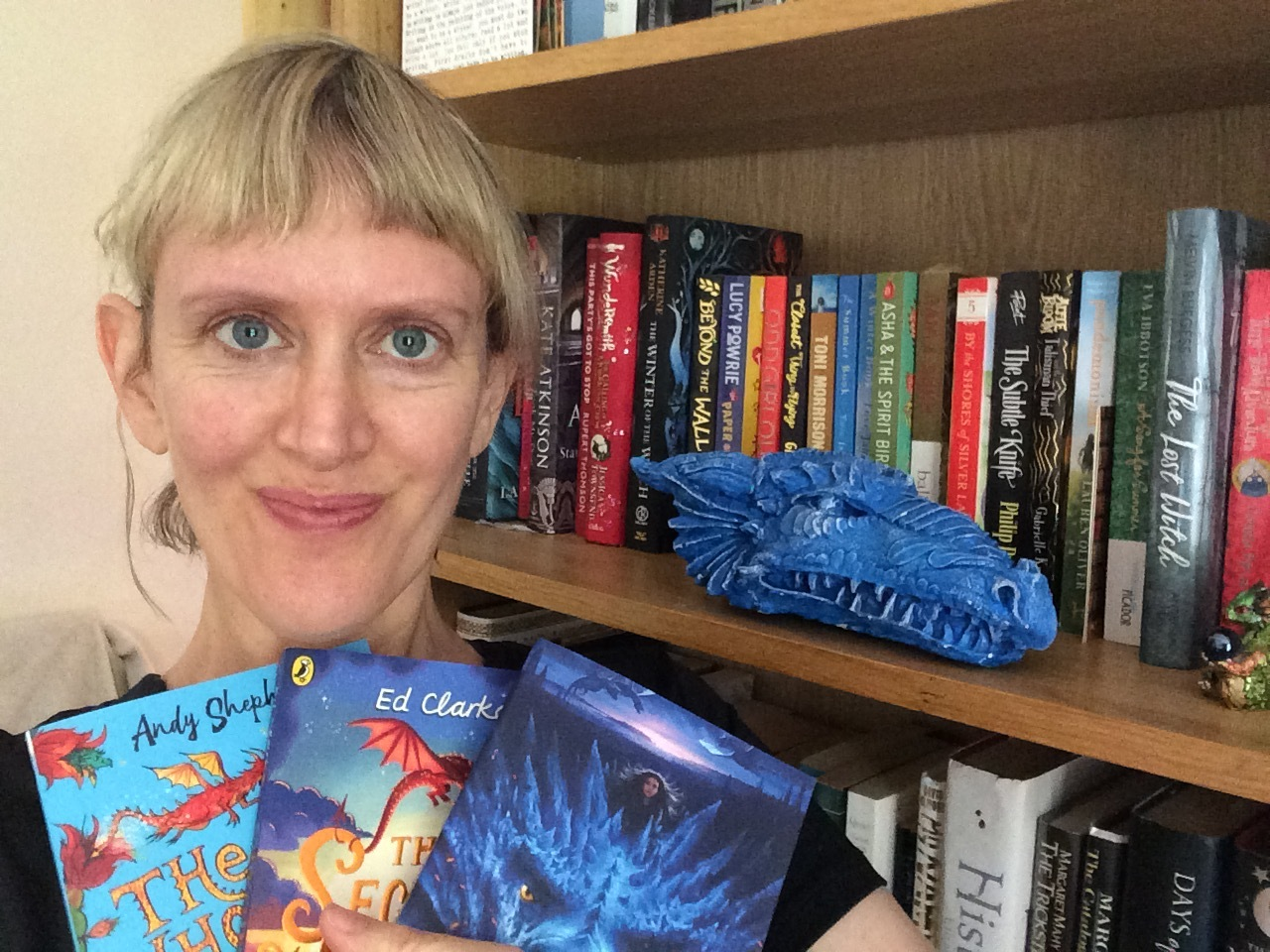 Liz with some dragon books!