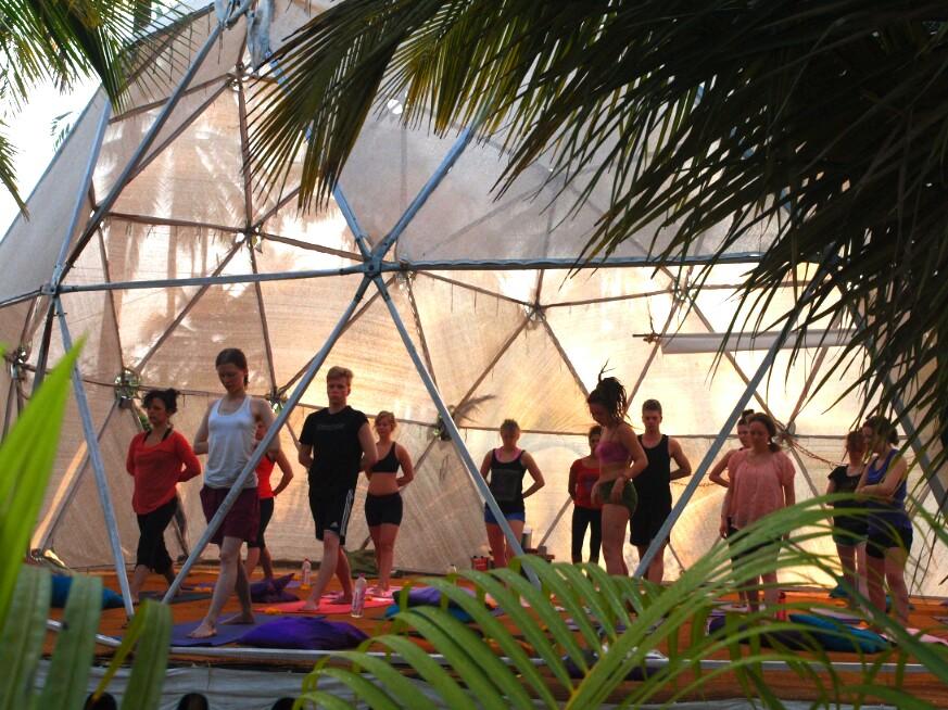 Morning yoga class at the Mandala Resort in Goa India