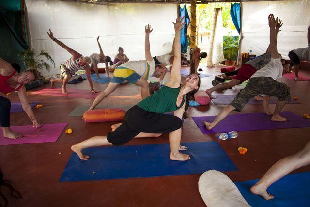 Yoga class inside a yoga shala at The Mandala