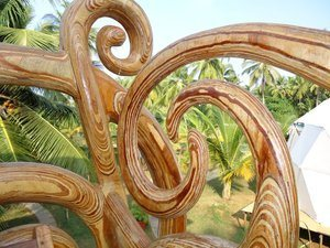 Detailed woodcarving decorations at The Mandala