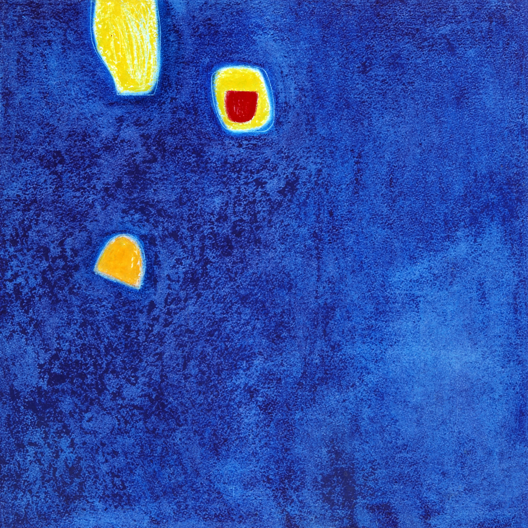 Two Yellows on Blue - Oil Pastel