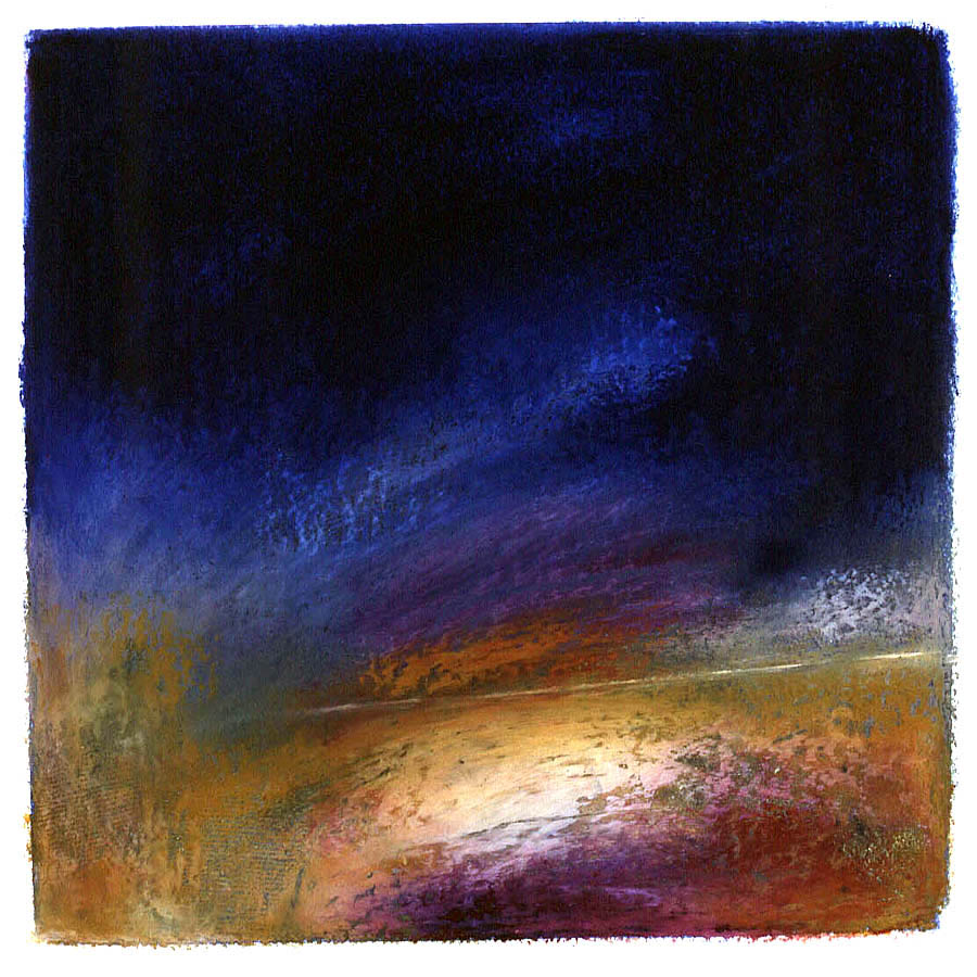 Curve of the Earth - Night - Oil Pastel