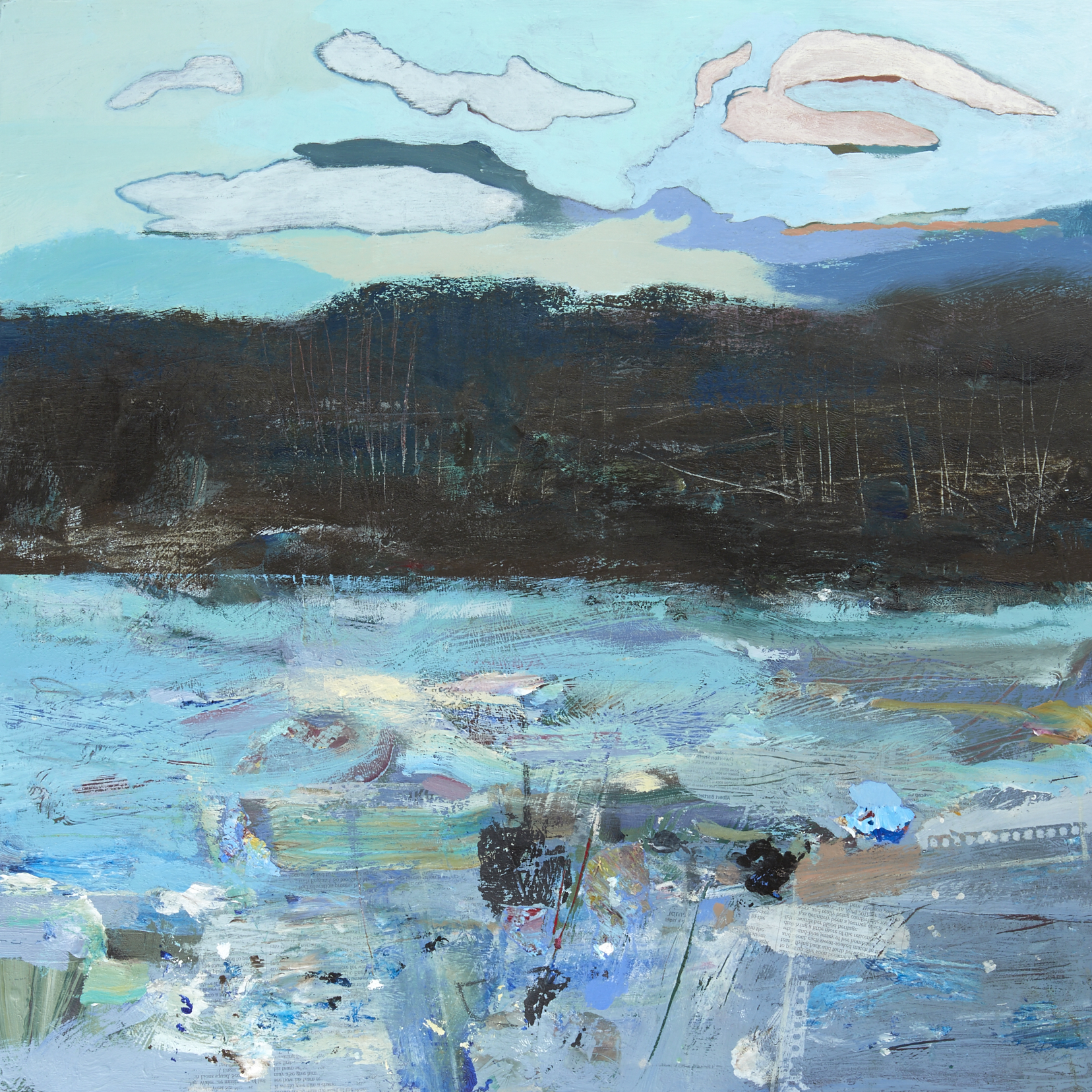 Roundhay Park: Cloud. Wood. Lake - Acrylic on board
