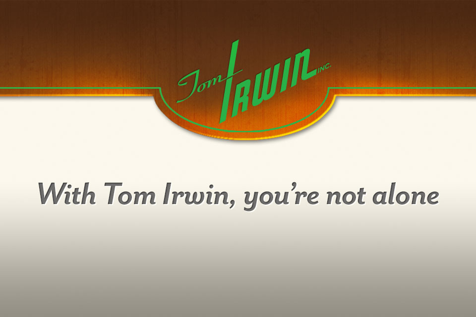 The redesigned Tom Irwin logo and brand mantra