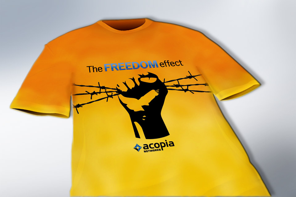 Trade show items promoting the 'Freedom' brand     positioning
