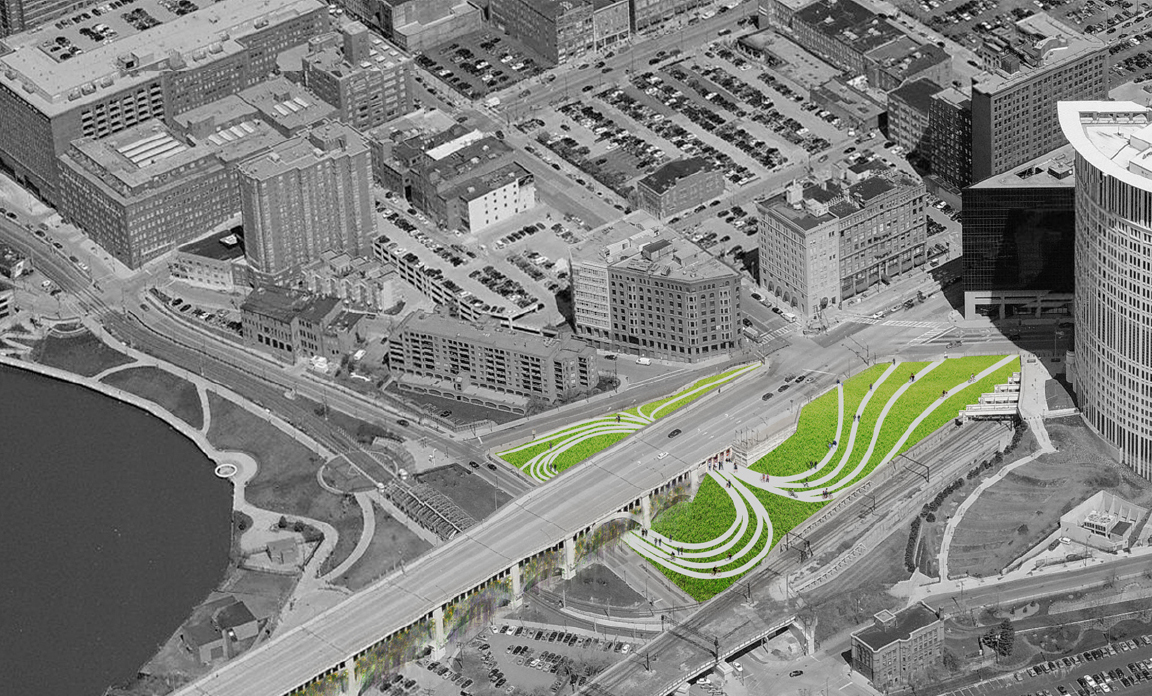 aerial view showing new entrance situation, rendered by Robert Pietrzak