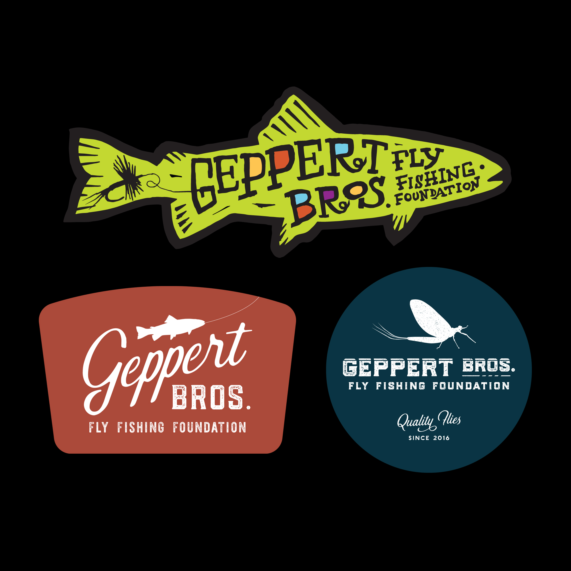 Three sticker designs created for  Geppert Brothers Fly Fishing Foundation .