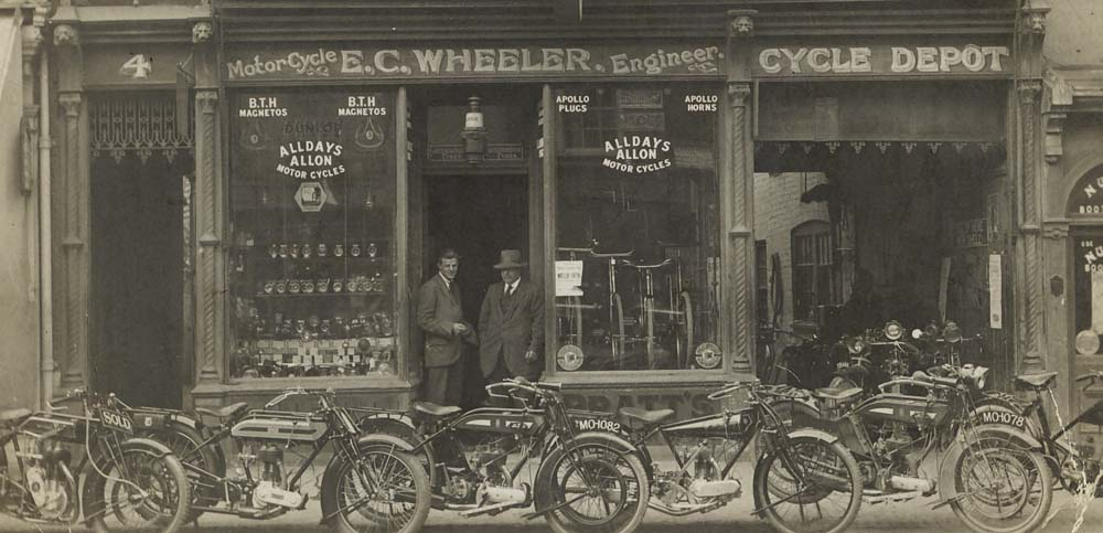 Jack (on left) and Batty Wheeler at EC Wheeler Cycles The Broadway September 6 1923- moved here in 1918, formerly Hewsons Clothing Store - Copy.jpg