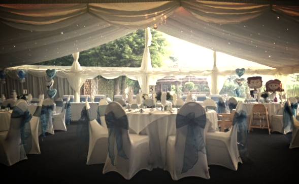 Panoramic ClearMax windows and gable ends on  12m clear span  wedding marquee.