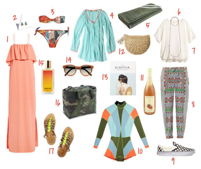 "1.  MSGM maxi dress  | 2.  Mociun triangle earrings | 3.  Laura Urbinati bikini | 4.  Surf Bazaar tunic | 5.  Saturdays Surf beach towel | 6.  Bettina Duncan pyrite necklace | 7.  H&M silk top | 8.  Mara Hoffman trousers | 9.  Vans slip-ons | 10.  Cynthia Rowley wetsuit | 11. Dom. de la Bastide ""Figue Côtes du Rhône Rosé | 12.  Flora Bella raffia clutch | 13.  Kinfolk volume 12 | 14.  The Row sunglasses | 15.  Warm NY body oil  | 16.  LL Bean camo tote  | 17.  K Jacques sandals"