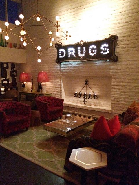 The Parker lobby: Jonathan Adler wonderland.