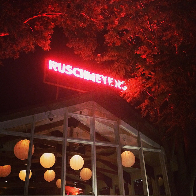 The nighttime scene at Ruschmeyer's.