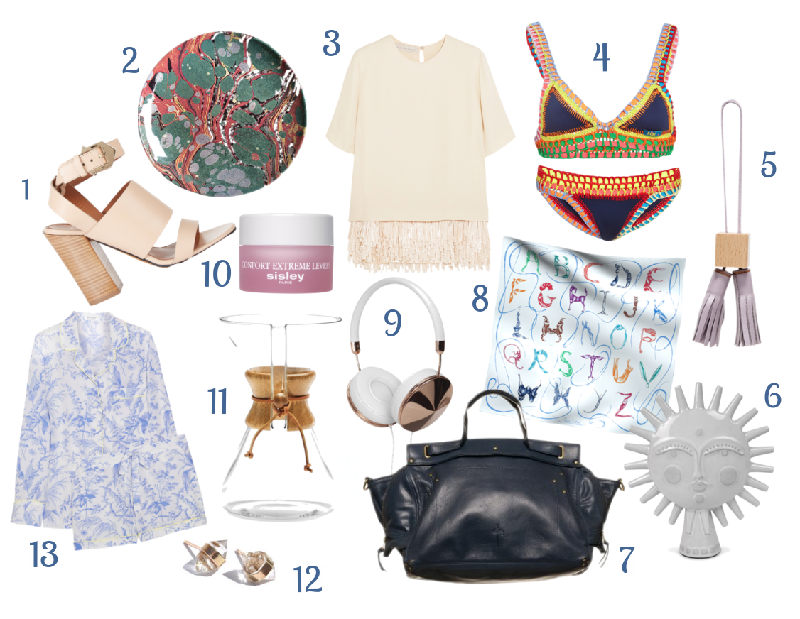 1.  Givenchy high-heeled sandals  | 2.  Astier de Villette dinner plate  | 3.  Stella McCartney fringed top  | 4.  Kiini swimsuit  | 5.  Need Supply Co. leather tassel  | 6.  Jonathan Adler Utopia sun  | 7.  Jerome Dreyfuss bag  | 8.  Hermès silk scarf  | 9.  Frends headphones  | 10.  Sisley lip balm  | 11.  Chemex coffeemaker  | 12.  White quartz earrings  | 13.  Equipment silk pajamas