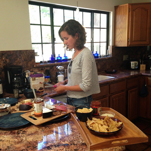 Our gluten and lactose-free lady working her culinary magic.