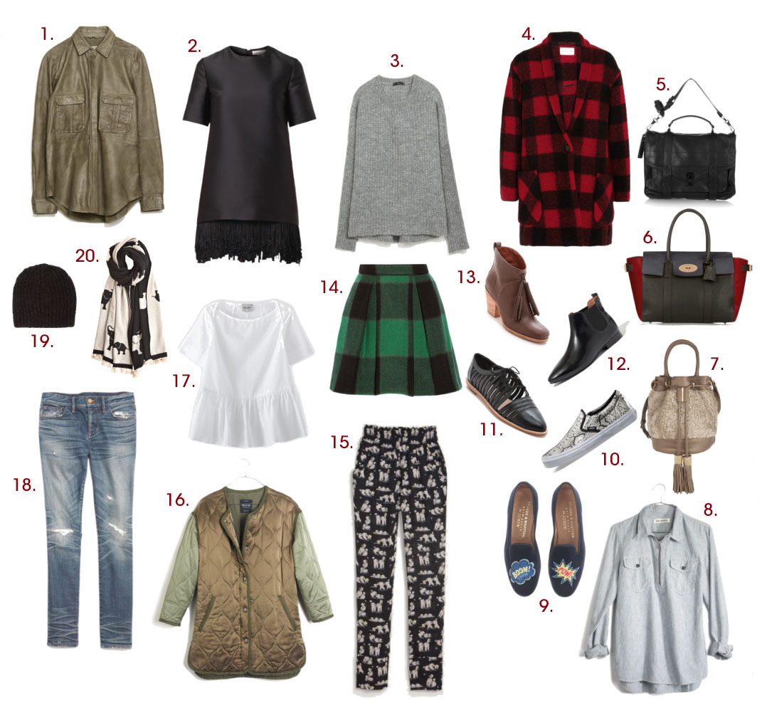 1.  Zara leather shirt  | 2.  Stella McCartney fringe-hem dress  | 3.  Zara batwing sleeved sweater  | 4.  Étoile Isabel Marant plaid wool coat  | 5.  Proenza Schouler PS1 bag  | 6.  Mulberry leather and calf hair tote  | 7.  See by Chloé shearling and leather bucket bag  | 8.  Rivet & Thread zip-front popover  | 9.  Stubbs & Wootton for J.Crew velvet slippers  | 10.  Vans leather snake-slip-ons  | 11.  Loeffler Randall cut-out oxfords  | 12.  Madewell Nico boots  | 13.  Rachel Comey tassel booties  | 14.  Sea buffalo plaid wool skirt  | 15.  Rachel Comey dinner pant  | 16.  Rivet & Thread quilted satin coat  | 17.  Rachel Comey blouse  | 18.  Madewell skinny jeans  | 19.  Étoile Isable Marant beanie  | 20.  Calypso St. Barth cashmere elephant scarf