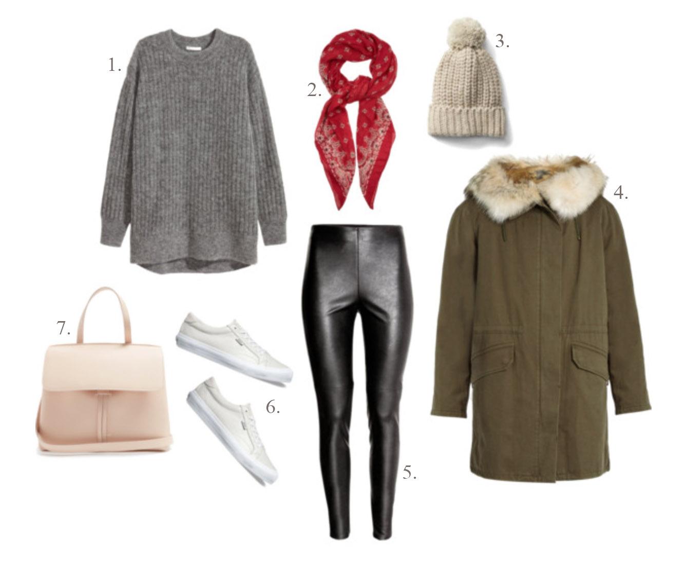 1.  H&M oversized mohair-blend sweater  | 2.  Saint Laurent bandana-print scarf  | 3.  Gap ribbed beanie  [ sold out  -  similar here ] | 4.  Yves Soloman fur-lined parka  | 5.  H&M faux leather leggings  | 6.  Vans leather court sneaker  | 7.  Mansur Gabriel Lady bag