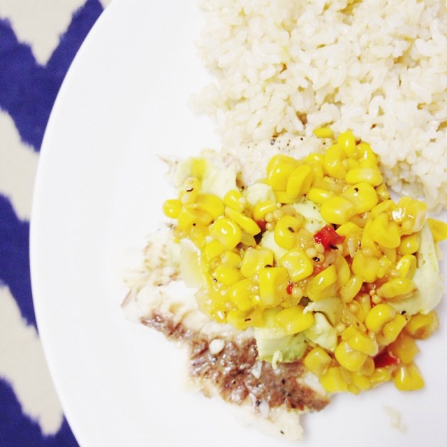 Put the pb&j down! Our list of quick and simple, almost no-cooking-required lunch recipes is on the blog today. This was yesterday's grilled tilapia, rice, and corn salsa... Simple, inexpensive, and delish.