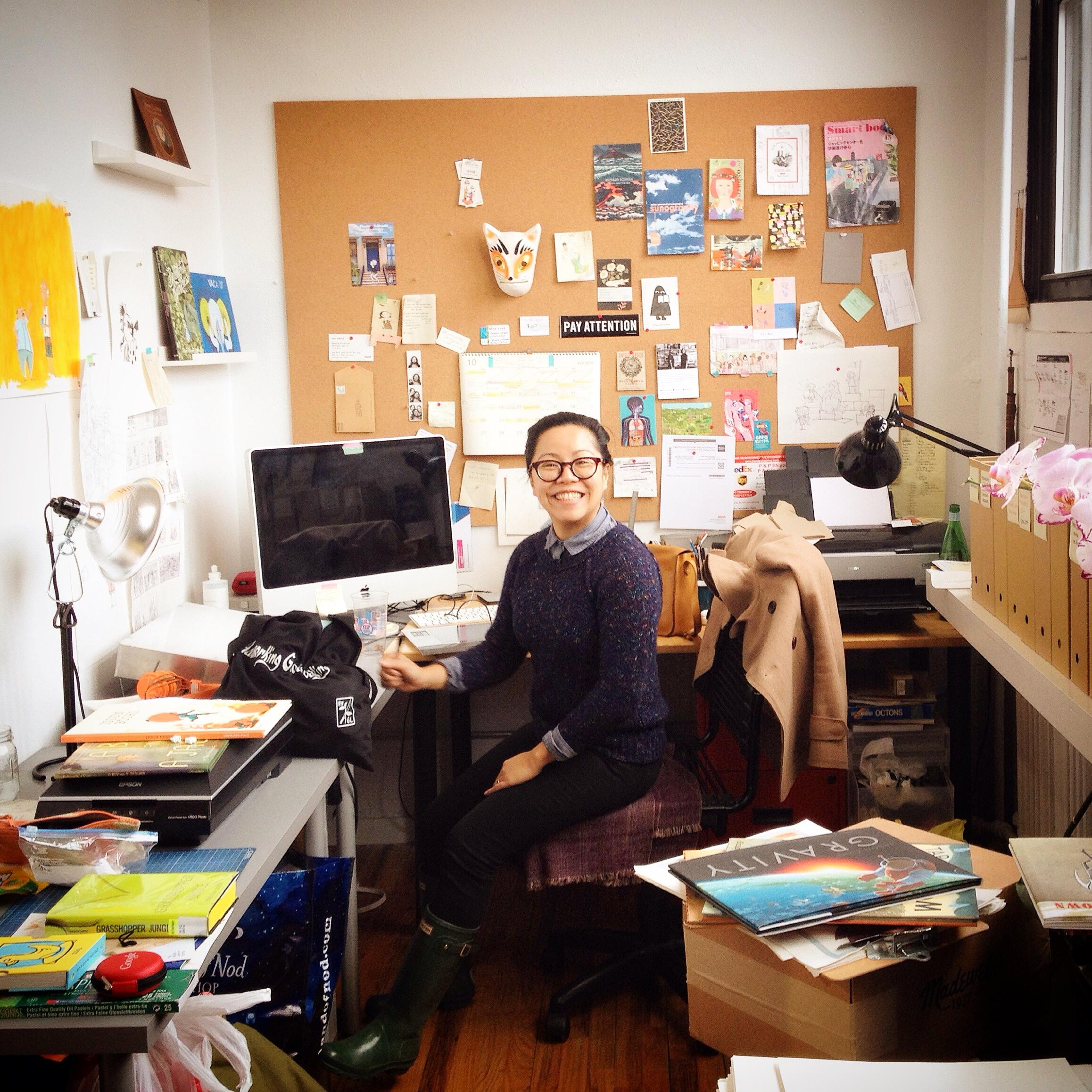Isabel (illustrator extraordinaire) in her studio