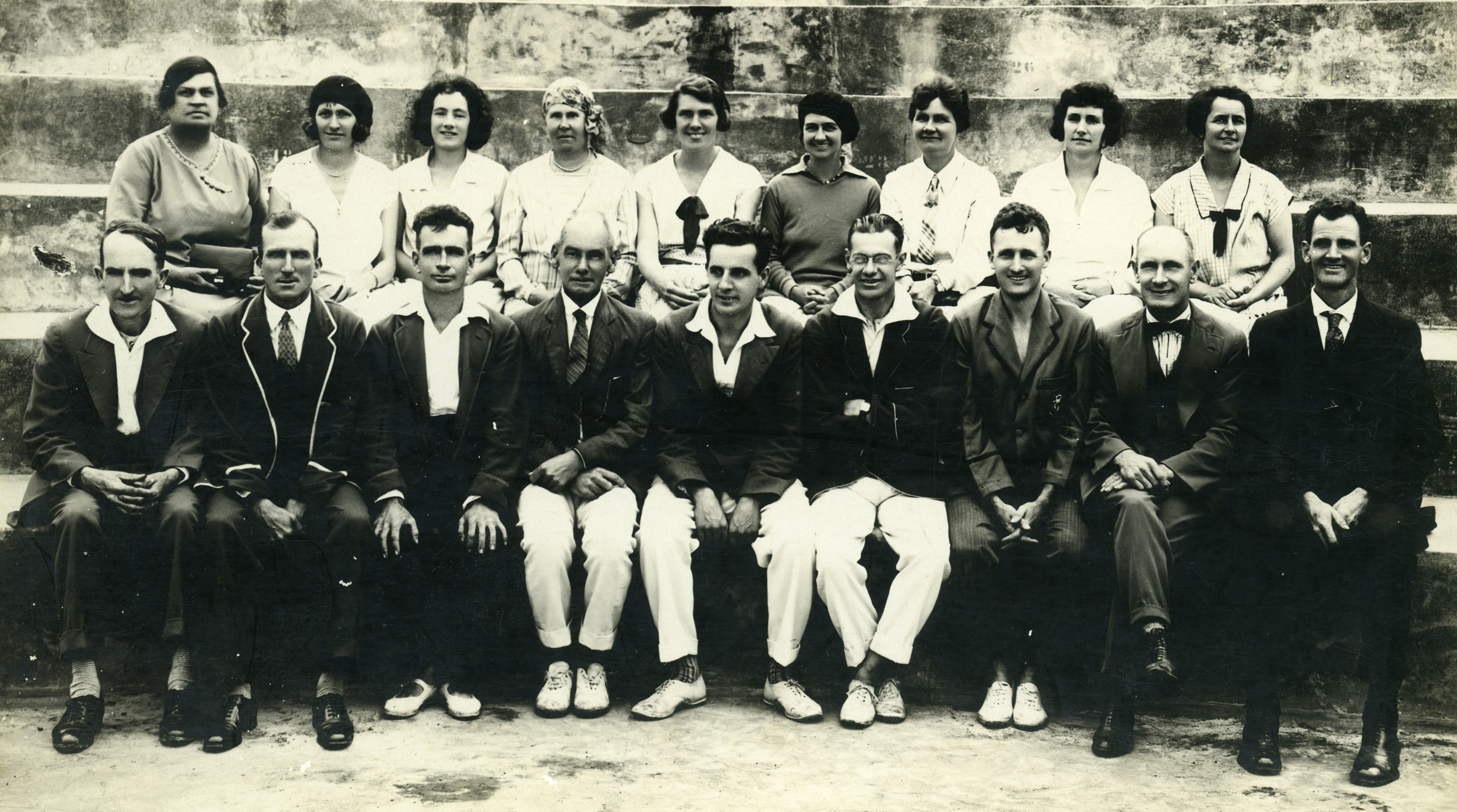 From left to right    Back Row: Dot Loader, Valerie Hole, Gladys Barron, Laura Booth, Marion Hersee, Isabella Winn, Ivy Lansdown, Dora Rider and Ivy Sacker  Front Row:Alfred Power, Norman McNiven, Ernest Quinnell, Fletcher Booth, Herbert Hersee, Stanley Winn, Arthur O'Callaghan, Albert Hole and Frank Sacker