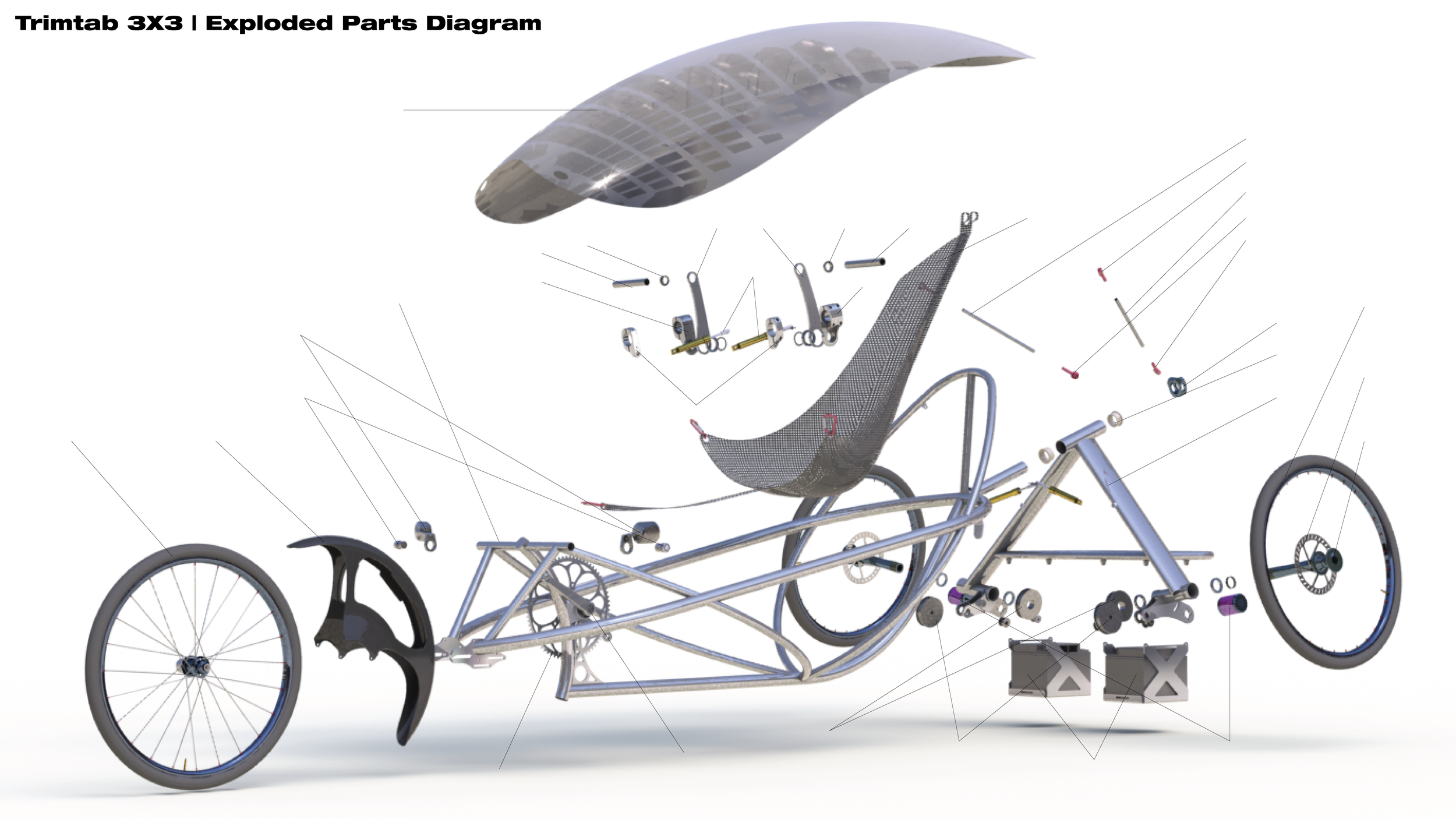 This image shows an exploded view of the vehicle, without skins.