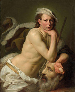 Self portrait as David with the head of Goliath by Johann Zoffany, 1756