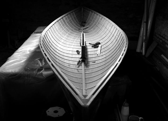 It's very difficult to convey the idea of form and function acting in complete harmony, but the design of handcrafted small sailboats has to be one of the closest approximations. Shown above is the latest prototype of a new  16|30 sail canoe .
