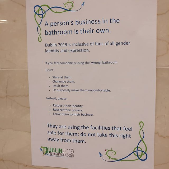A person's business in the bathroom is their own. Love these signs.