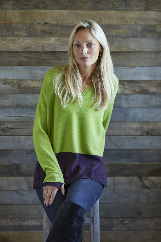 Coloured V Neck Jumper
