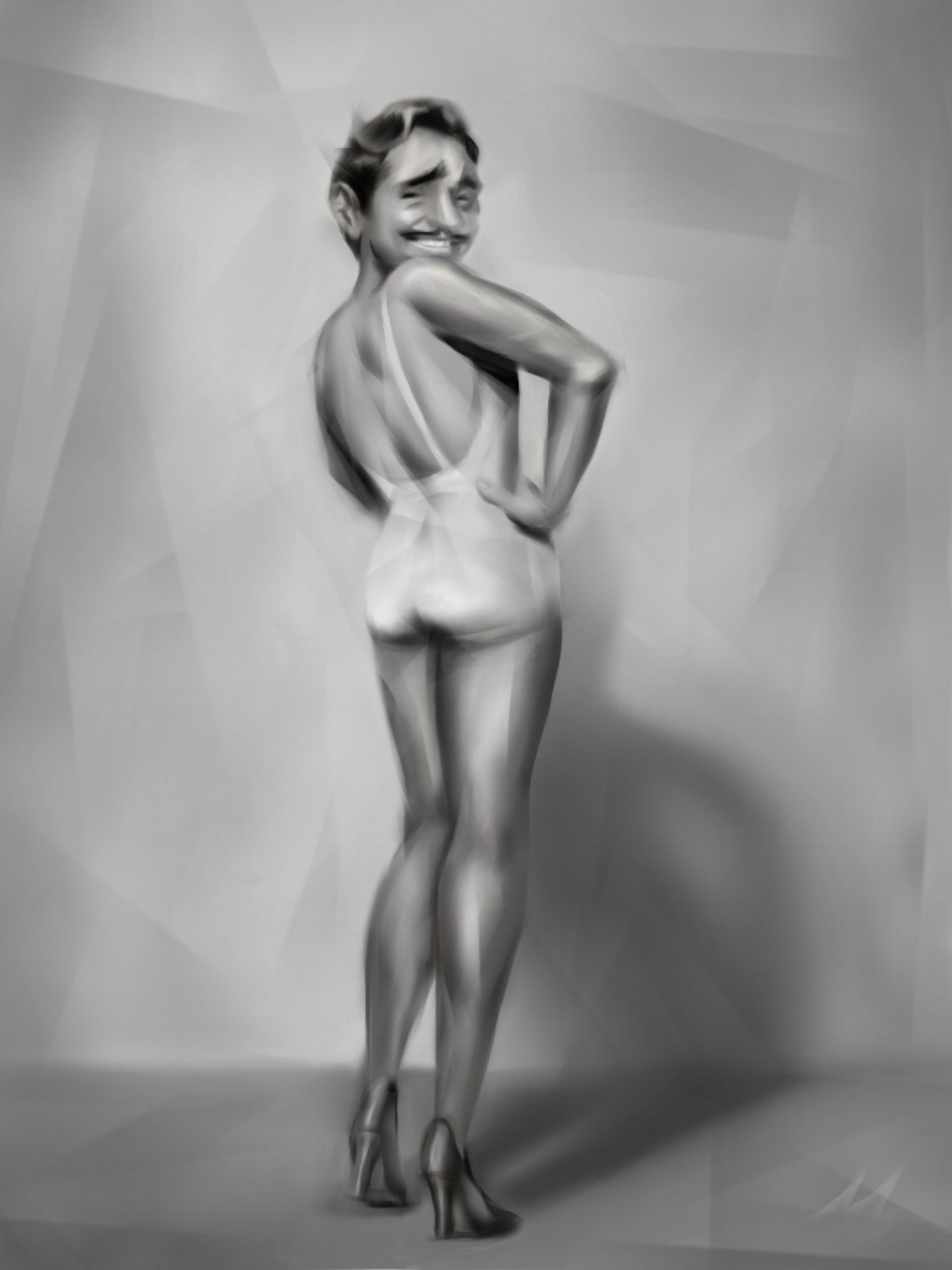 """""""Clark Grable""""  Betty Grable + Clark Gable = Clark Grable. Riffing on the gorgeous WWII cheesecake shot of Betty 'Gams' Grable. #celebritymashup"""