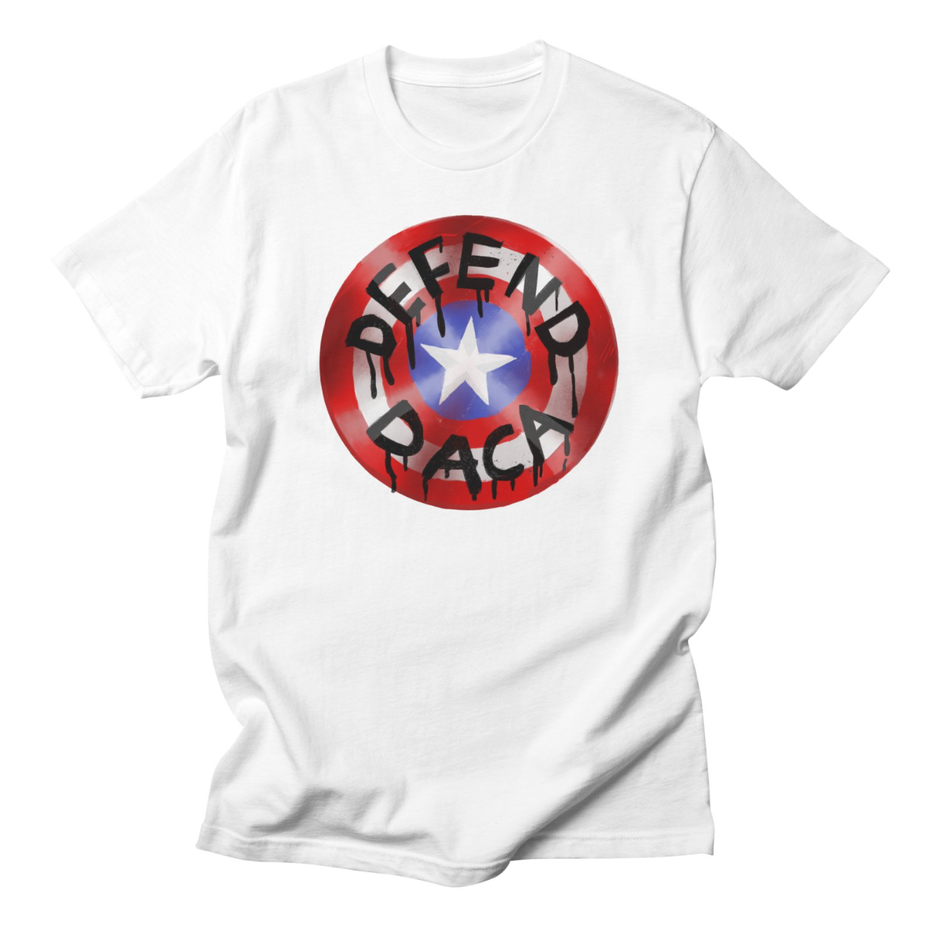What would Captain America do? Defend DACA, of course!   https://pushbackshack.threadless.com/designs/defend-daca/womens/fitted-t-shirt?color=white   Help me raise funds for the ACLU and their current and coming battles to defend DACA!