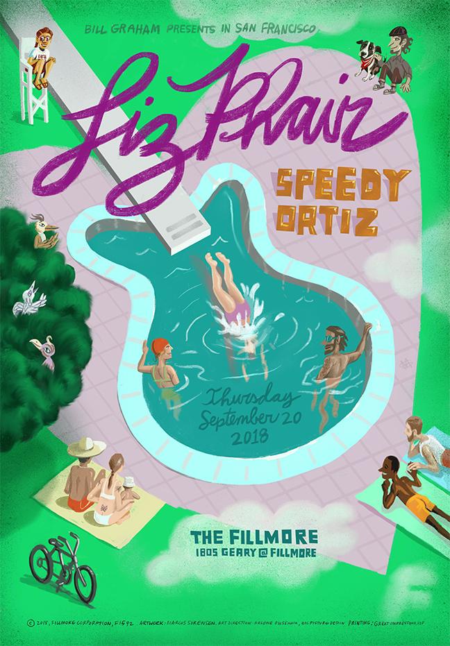 Spuh-Lash! Liz Phair and Speedy Ortiz at the Fillmore in in SF.  Super fun job for Rock Star Arlene Osheichuk!