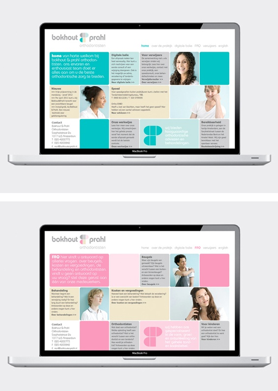 Web & identity design Bokhout & Prahl (two female dentists)