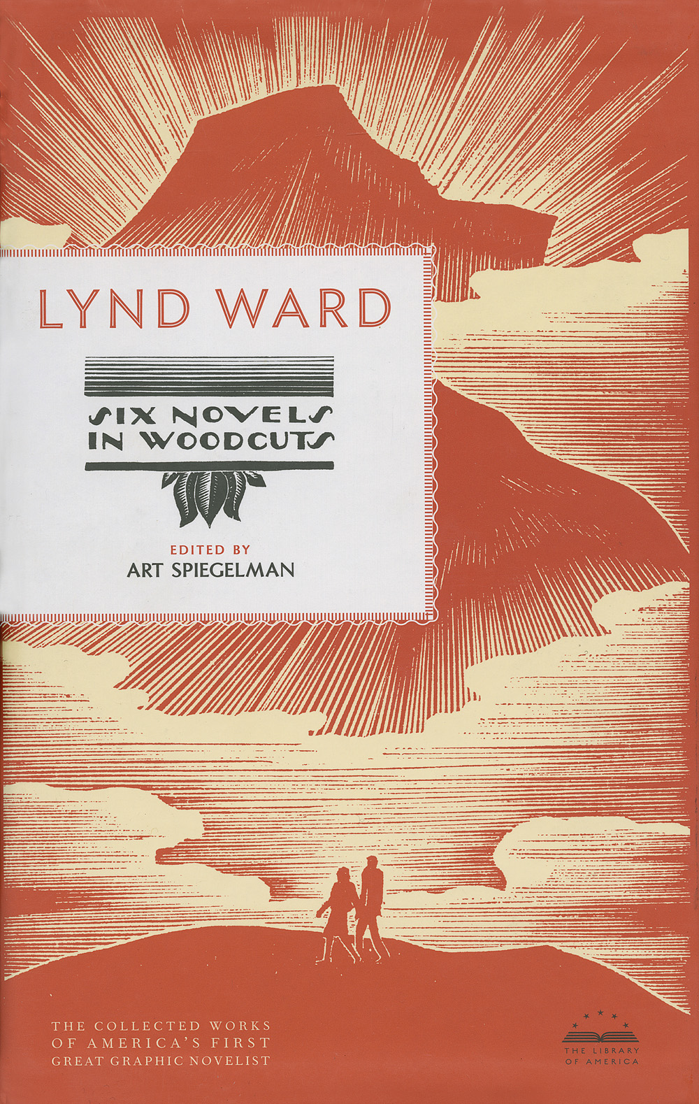 Lynd Ward, Slipcase cover of  Six Novels in Woodcuts   Edited by Art Spiegelman, published by The Library of America  Scanning of the original Lynd Ward woodcuts by John Stinehour and Stephen Stinehour at Stinehour Editions.