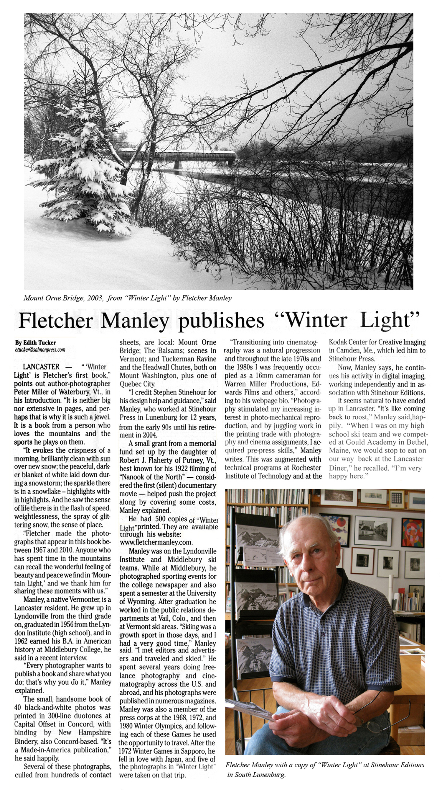 Fletcher Manley, article from Coös County Democrat