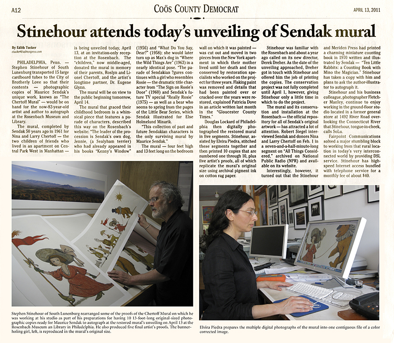 Article by Edith Tucker in Coös County Democrat on the reproduction of Maurice Sendak's  Chertoff Mural  at Stinehour Editions