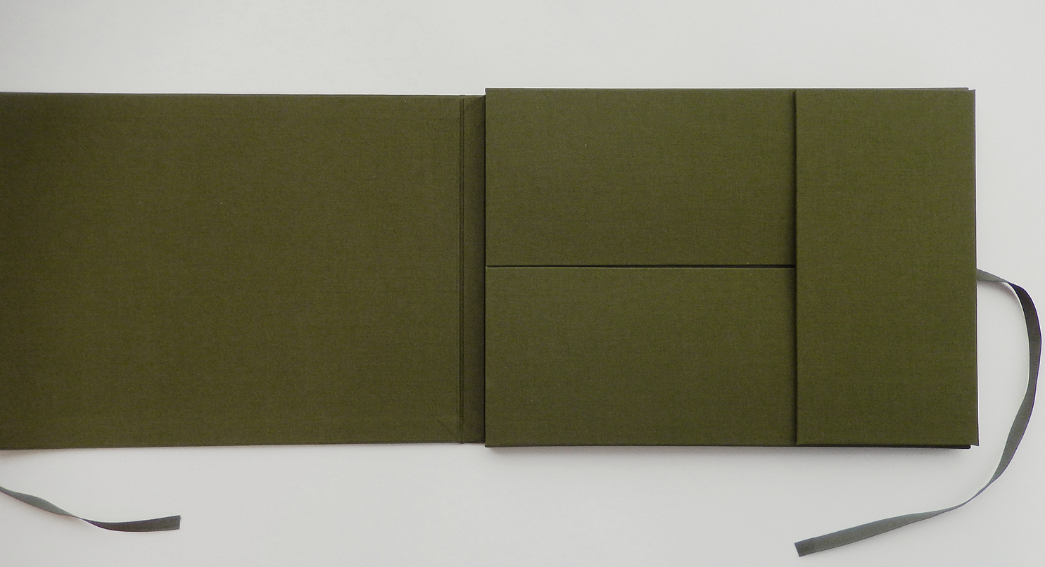 Linen covered portfolio made by Judi Conant of Maidstone, Vermont.
