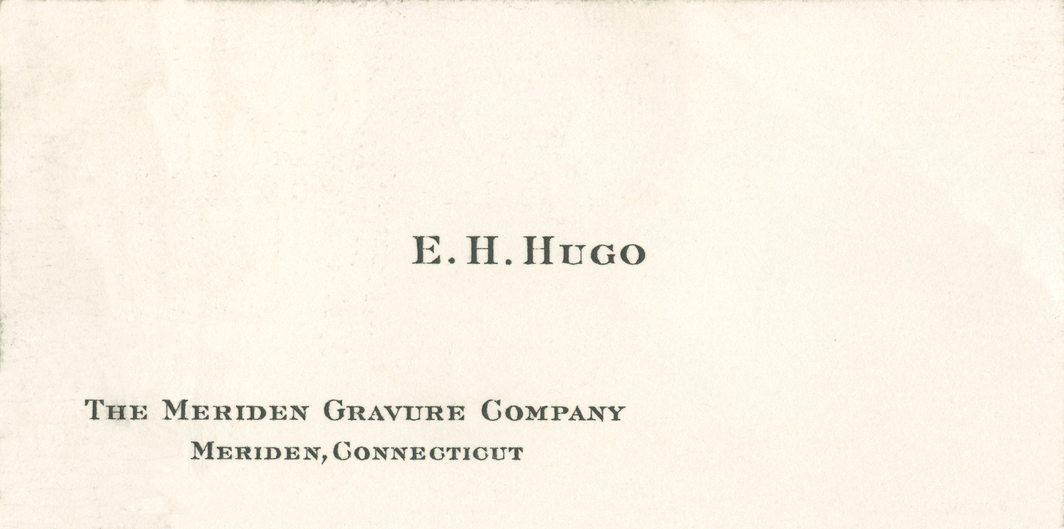 Harold Hugo's business card from 1929