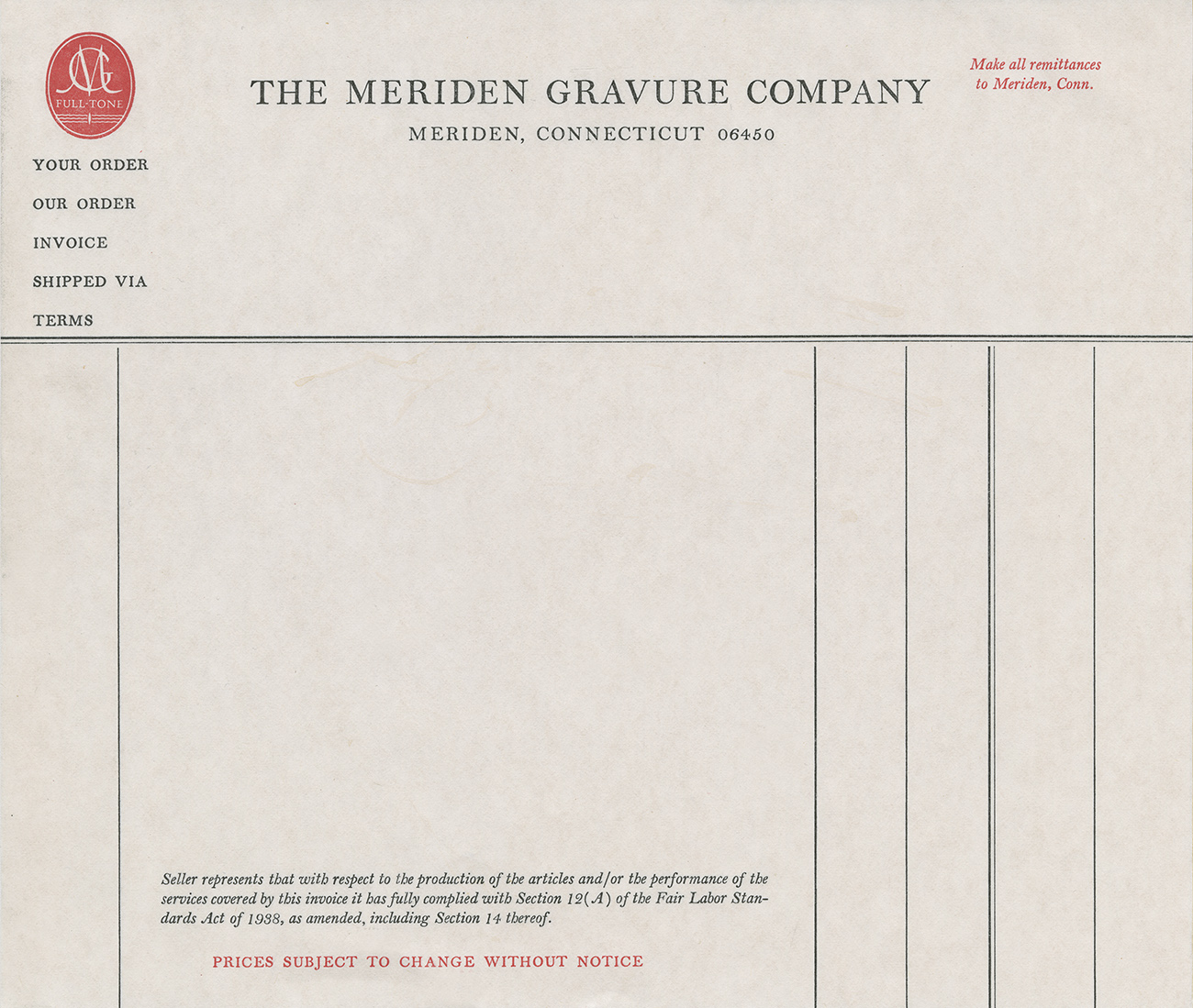 Invoice from the Meriden Gravure Company from the 1940s