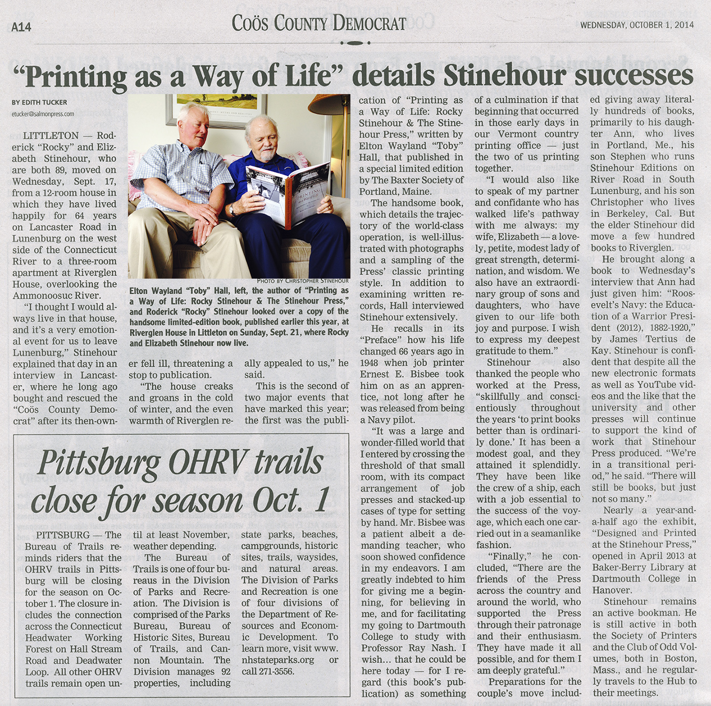 "Roderick ""Rocky"" Stinehour and Elton Wayland ""Toby"" Hall looking at  Printing As a Way of Life, from the Cöos County Democrat, October 1st, 2014"