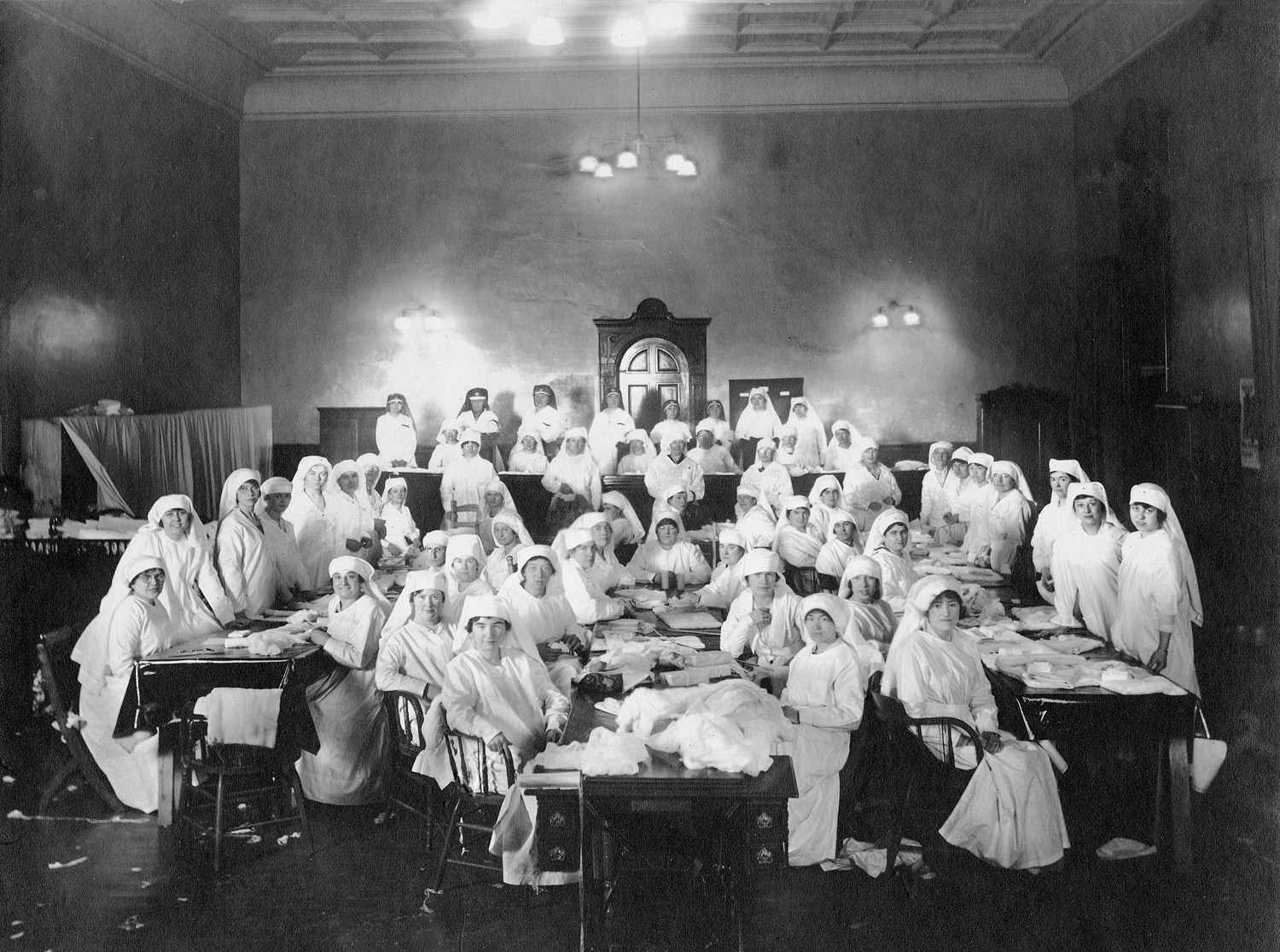 Red Cross Nurses sewing during World War I