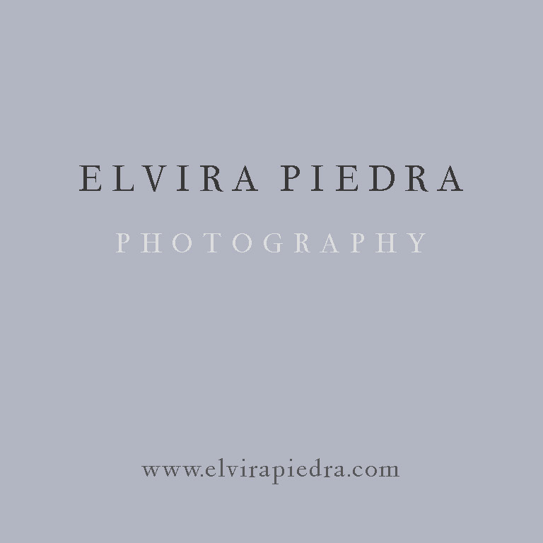 Business card for the photographer Elvira Piedra   2.5 x 2.5 inches.  The typeface is Peleguer, named after Manuel Peleguer, a Valencia goldsmith, and digitized by Josep Patus, based on the original characters, created by Peleguer between 1779 and 1783.