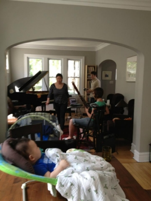 Recording at Joann's; Baby Elaeth supervises.