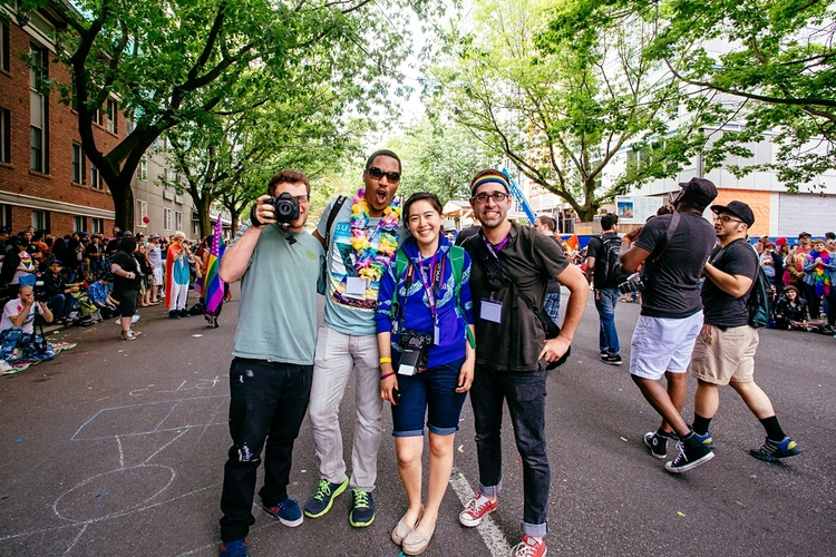 With the interns - Brad Jensen, Aaron Smith and Jen DeLeo - at Seattle Pride, June 2014. Photo by Dru Dinero.