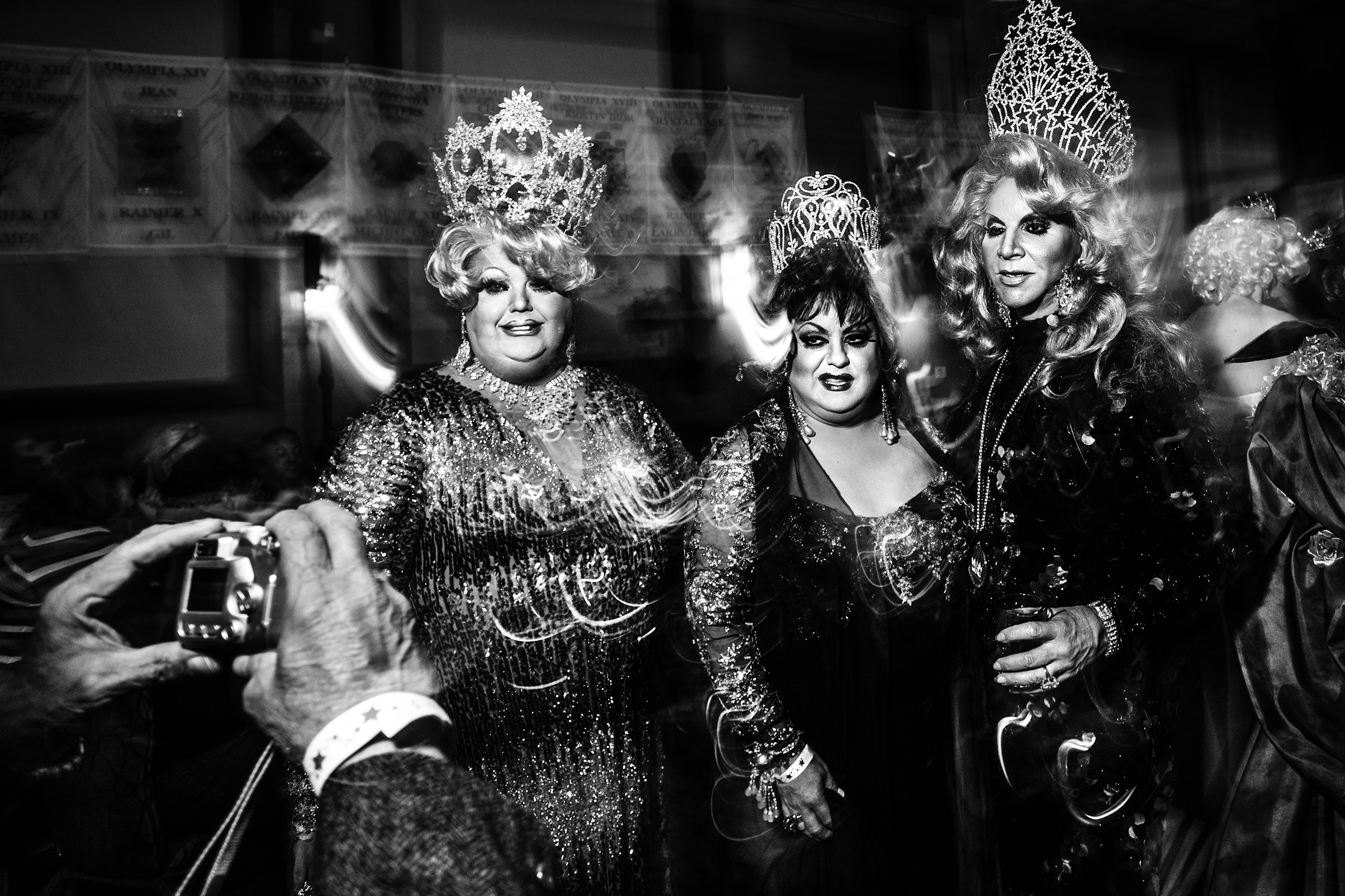 Female impersonators dress in their finest ball gowns at the Imperial Sovereign Court of Seattle's annual Coronation at the Renaissance Ballroom on February 7th, 2015, in Seattle.