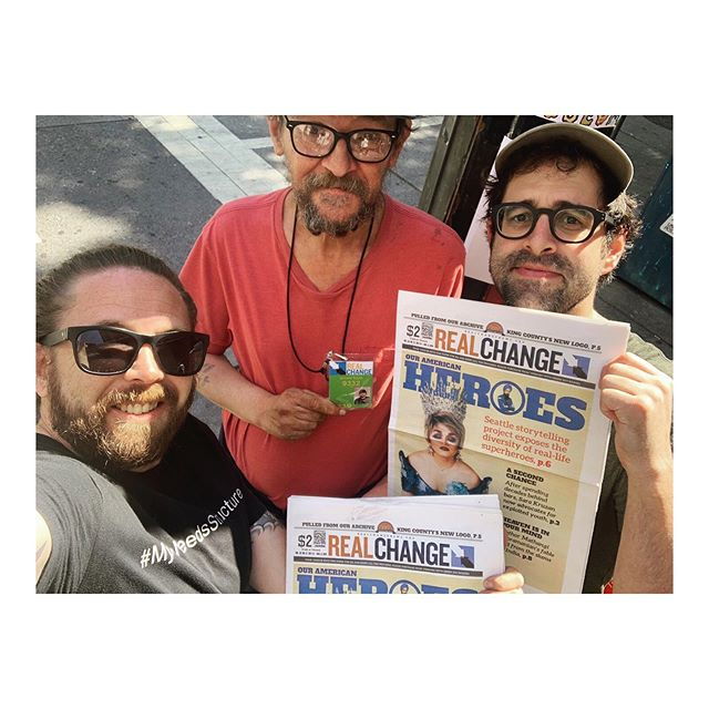 This afternoon Greg and I bought out a downtown vender's issues of Real Change, which features The American Superhero project on this week's cover. Pick up a copy or two to see the centerfold spread written by Lisa Edge! So much more exciting news to share, but for now a little much needed down time :)