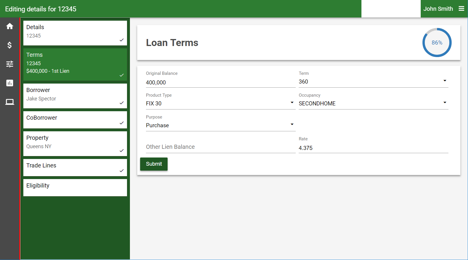 Guided forms for loan registration