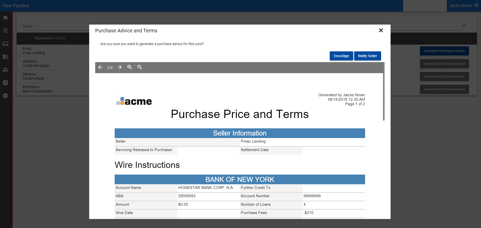 New Docusign option submits purchase advice for eSignature