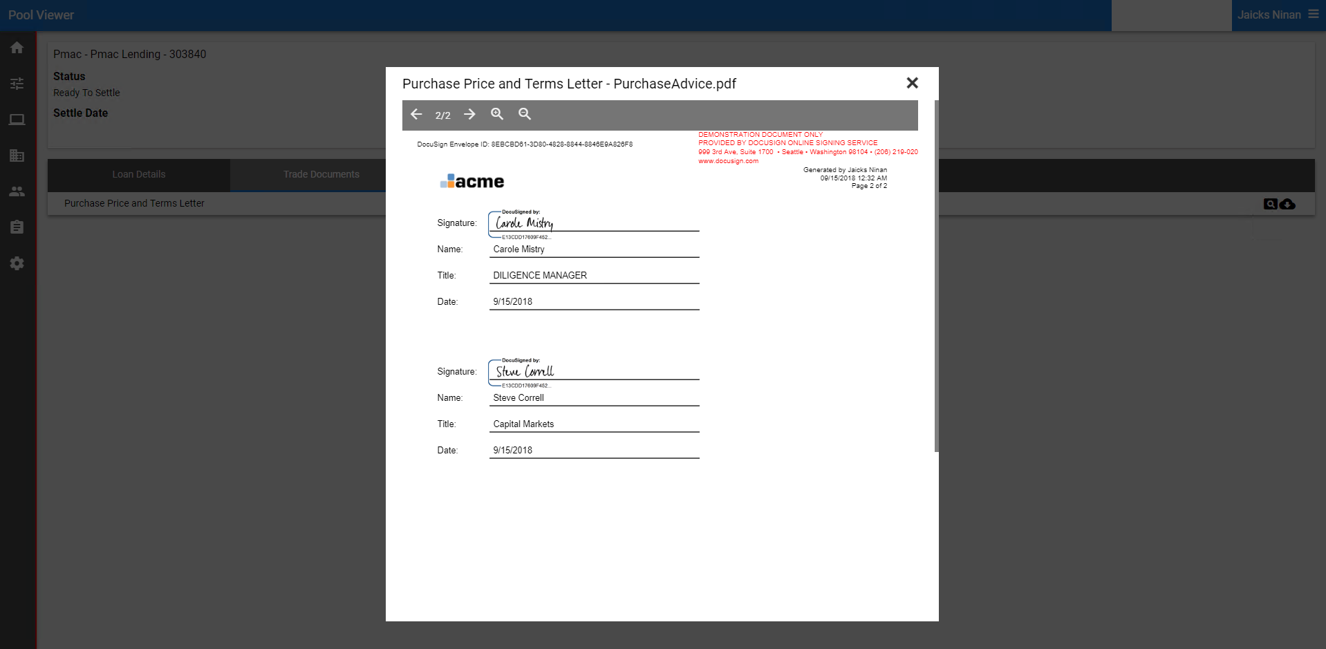 Purchase advice status and signed doc loaded into Lms.Connect automatically